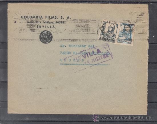 .608S SOBRE SEVILLA (INTERIOR), FRANQUEO 820 Y LOCAL 676 MATº, CENSURA S 86-11A EN VIOLETA, MEMBRET+ (Sellos - Historia Postal - Sello Español - Sobres Circulados)