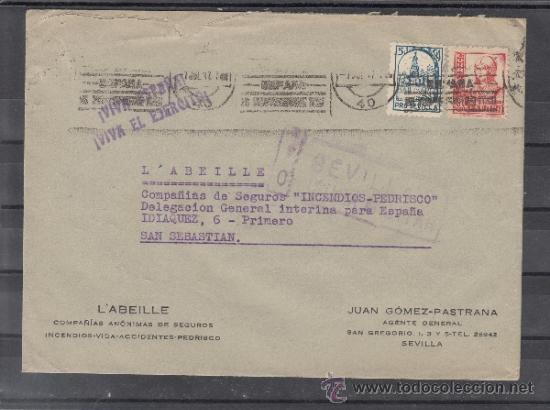 .609L SOBRE SEVILLA A SAN SEBASTIAN, FRANQUEO 823 Y LOCAL 675 MATº, CENSURA SIN CATALOGAR SIMILAR A+ (Sellos - Historia Postal - Sello Español - Sobres Circulados)