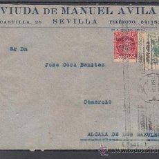 Sellos: .609R SOBRE SEVILLA A ALCALA DE LOS GAZULES (CADIZ), FRANQUEO PATRIOTICO 25 Y LOCAL 674A MATº, CENS+. Lote 41410058