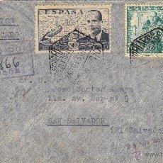 Sellos: CARTA CERTIFICADA AÉREO BARCELONA - SAN SALVADOR ( EL SALVADOR ) 1951 FRANQUEO: CIERVA 886 Y 1026 . Lote 41530331
