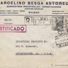 Sellos: CARTA COMERCIAL MARCELINO BESGA - CENSURA BILBAO MAT BILBAO - PHILADELPHIA (USA) 1944 CON LLEGADA . Lote 41560134
