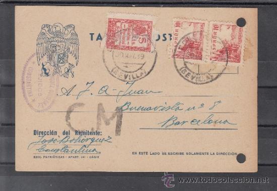 .611A TARJETA CONSTANTINA (SEVILLA) A BARCELONA, FRANQUEO 818 PAREJA Y LOCAL B835A MATº 30/5/39 MUY+ (Sellos - Historia Postal - Sello Español - Sobres Circulados)