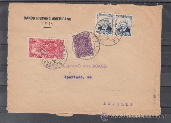 .611L SOBRE ECIJA A SEVILLA, FRANQUEO 670 PAREJA (VARIEDAD SIN NOMBRE DEL GRABADOR), 679 URGENTE Y + (Sellos - Historia Postal - Sello Español - Sobres Circulados)