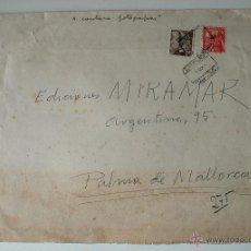 Sellos: SOBRE CIRCULADO BARCELONA-MALLORCA 1951, REMITE ARTISTA MIGUEL GARCIA . Lote 42364898