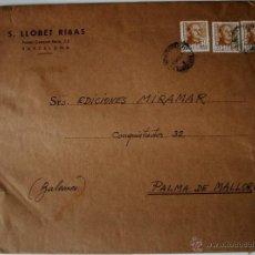 Sellos: SOBRE CIRCULADO BARCELONA-MALLORCA 1951. REMITE ARTISTA SEBASTIAN LLOBET RIBAS . Lote 42364921