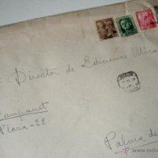 Sellos: SOBRE CIRCULADO CERTIFICADO BARCELONA-MALLORCA, REMITE DEL PINTOR JUAN BARBERO . Lote 42396561