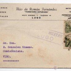 Sellos: FERRETERÍA ASTURIANA. CENSURA MILITAR LUGO. 5 DE FEBRERO DE 1939.. Lote 42409160