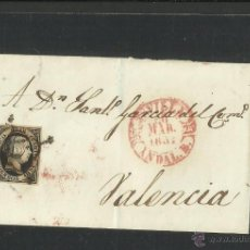 Sellos: SEIS CUARTOS - AÑO 1851- DE SEVILLA A VALENCIA - (N-319). Lote 42601725