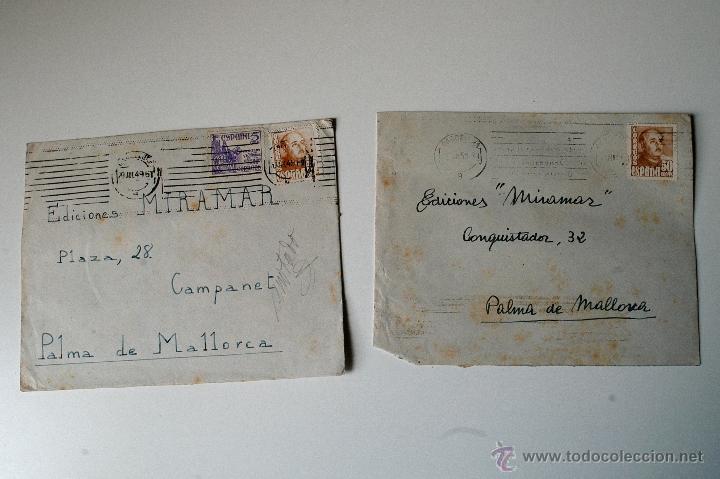 2 SOBRES CIRCULADOS BARCELONA-MALLORCA, 1951, REMITE DEL PINTOR FLORENCIO BOSCH TUBAU (Sellos - Historia Postal - Sello Español - Sobres Circulados)