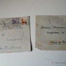 Sellos: 2 SOBRES CIRCULADOS BARCELONA-MALLORCA, 1951, REMITE DEL PINTOR FLORENCIO BOSCH TUBAU . Lote 42633023