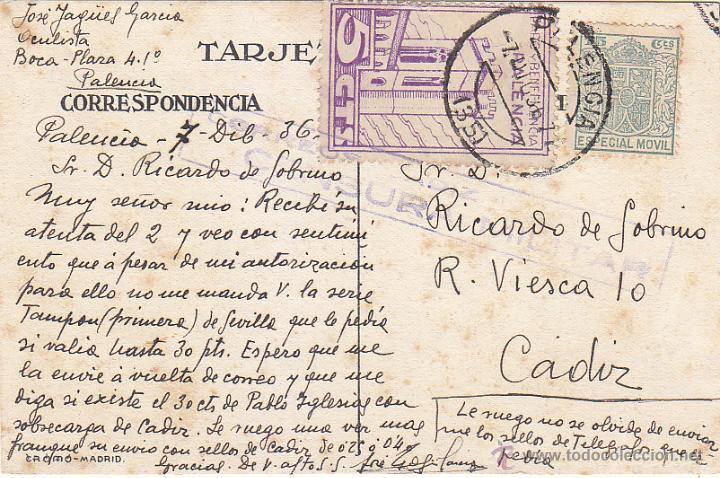 PARO Y BENEFICENCIA ESPECIAL MOVIL UNICO FRANQUEO TARJETA HEMOSTYL 1936 PALENCIA-CADIZ. CM. RARA ASI (Sellos - Historia Postal - Sello Español - Sobres Circulados)