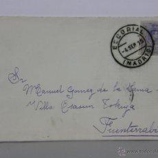 Sellos: SOBRE CIRCULADO 4 SEP 1915 ESCORIAL MADRID FUENTERRABIA SELLO 15 CS ALFONSO XIII . Lote 42935791