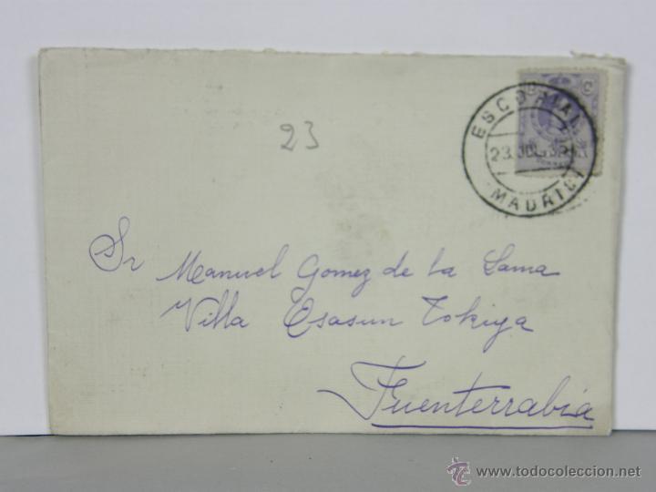 SOBRE CIRCULADO 23 JULIO 1915 ESCORIAL MADRID FUENTERRABIA SELLO 15 CS ALFONSO XIII (Sellos - Historia Postal - Sello Español - Sobres Circulados)