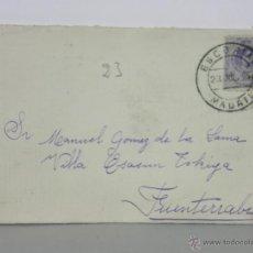 Sellos: SOBRE CIRCULADO 23 JULIO 1915 ESCORIAL MADRID FUENTERRABIA SELLO 15 CS ALFONSO XIII. Lote 42936030