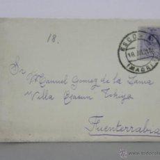 Sellos: SOBRE CIRCULADO 18 JULIO 1915 ESCORIAL MADRID FUENTERRABIA SELLO 15 CS ALFONSO XIII . Lote 42936066