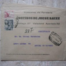 Sellos: SOBRE CIRCULADO. SOBRINOS DE JORGE SAENZ. VALLADOLID. . Lote 42970026