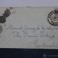 Sellos: SOBRE CIRCULADO 27 SEP 1915 FUENTERRABIA SELLO 15 CS ALFONSO XIII. Lote 43001677