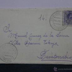 Sellos: SOBRE CIRCULADO 14 JULIO 1915 FUENTERRABIA SELLO 15 CS ALFONSO XIII. Lote 43001739