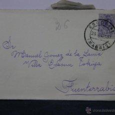Sellos: SOBRE CIRCULADO 26 JULIO 1915 FUENTERRABIA SELLO 15 CS ALFONSO XIII. Lote 43001757