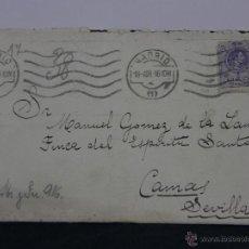 Sellos: SOBRE CIRCULADO 18 ABRIL 1916 CAMAS SEVILLA SELLO 15 CS ALFONSO XIII. Lote 43001779