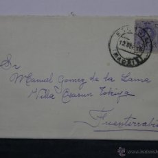 Sellos: SOBRE CIRCULADO 12 SEPTIEMBRE 1915 FUENTERRABIA SELLO 15 CS ALFONSO XIII. Lote 43001857