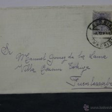 Sellos: SOBRE CIRCULADO 6 SEPTIEMBRE 1915 FUENTERRABIA SELLO 15 CS ALFONSO XIII. Lote 43001906
