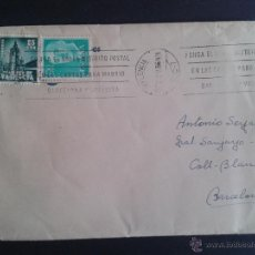 Sellos: SOBRE CIRCULADO DE VALENCIA A BARCELONA. MATASELLOS DE RODILLO. FRANQUEO PLAN SUR. . Lote 43385669