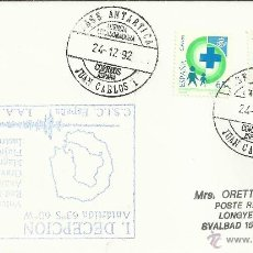 Francobolli: CC DESDE LA BASE ANTARTICA JUAN CARLOS I MAT BASE 1992 POLO SUR ANTARTIDA. Lote 43422611