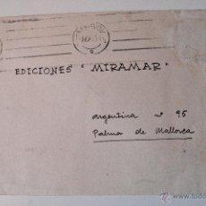 Sellos: SOBRE CIRCULADO 1951, REMITE DEL PINTOR JUAN PALET. Lote 43522954