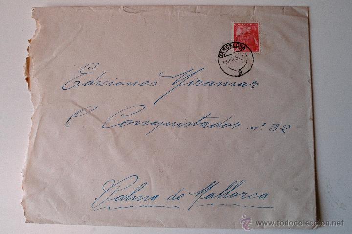 SOBRE CIRCULADO 1951, REMITE JOSE MARIA BOHIGAS, PINTOR (Sellos - Historia Postal - Sello Español - Sobres Circulados)