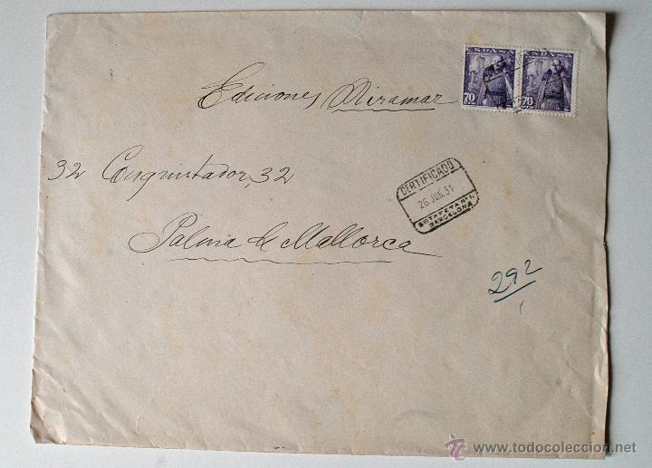 SOBRE CIRCULADO CERTIFICADO 1951, PINTOR KALLINICK GOUSSEFF (Sellos - Historia Postal - Sello Español - Sobres Circulados)