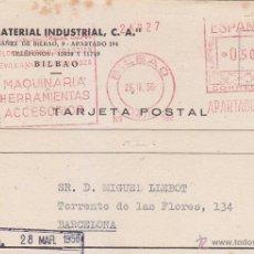 Sellos: 0,50 RARO FRANQUEO MECANICO EL MATERIAL INDUSTRIAL TARJETA COM 1956 BILBAO (VIZCAYA)-BARCELONA. MPM.. Lote 23465635
