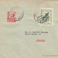 Sellos: RARO SELLO BENEFICO HUEVAR EN CARTA CIRCULADA 1937 DE HUEVAR (SEVILLA) A ZARAGOZA. LLEGADA AL DORSO.. Lote 44163428