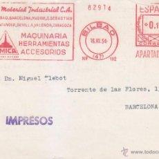 Sellos: 0,15 RARO FRANQUEO MECANICO EL MATERIAL INDUSTRIAL TARJETA COM 1954 BILBAO (VIZCAYA)-BARCELONA. MPM.. Lote 24786937