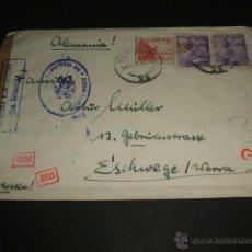 Sellos: SOBRE CIRCULADO MARZO 1941 SAN SEBASTIAN A ALEMANA CENSURA GUBERNATIVA Y ALEMANASTIRA PAPEL Y TINTA. Lote 44213819