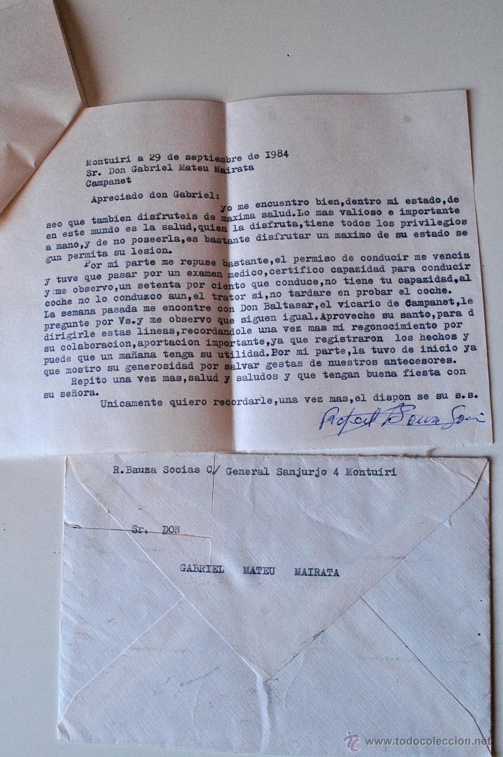 CARTA ESCRITA Y FIRMADA POR EL ESCRITOR DE MONTUIRI, RAFAEL BAUZA, 1984 (Sellos - Historia Postal - Sello Español - Sobres Circulados)