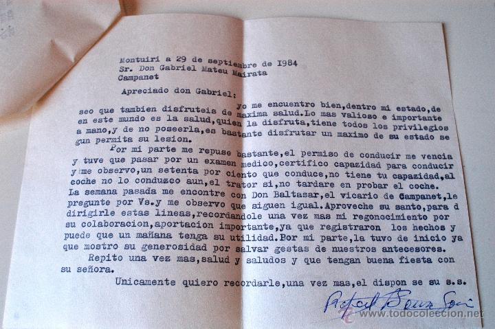 Sellos: CARTA ESCRITA Y FIRMADA POR EL ESCRITOR DE MONTUIRI, RAFAEL BAUZA, 1984 - Foto 2 - 44295844