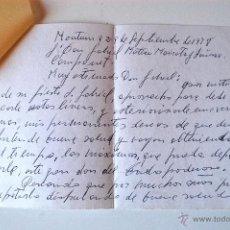 Sellos: CARTA A MANO ESCRITA Y FIRMADA POR EL ESCRITOR DE MONTUIRI, RAFAEL BAUZA, 1978. Lote 44295908