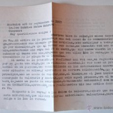 Sellos: CARTA A MAQUINA ESCRITA Y FIRMADA POR EL ESCRITOR DE MONTUIRI, RAFAEL BAUZA, 1977. Lote 44295938