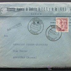Sellos: SOBRE DELEGACION PROVINCIAL DE SINDICATOS DE HUESCA / FALANGE / MATASELLADA TAMARITE DE LITERA 1961. Lote 45198239