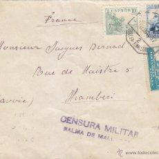Selos: AMBULANTE 2 SOLLER PALMA MALLORCA RARO MATASELLOS CARTA 1937 A FRANCIA. CM. RODILLO LLEGADA. EL CID.. Lote 45876692