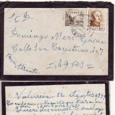 Sellos: ** PA09 - SOBRE CIRCULADO Y CARTA DE LUTO - FECHADA EN VALENCIA 1949 - RF.00. Lote 45936072