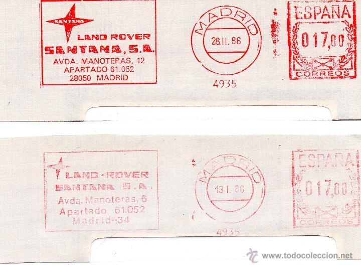 DOS FRANQUEOS MECANICOS COCHES LAND ROVER SANTANA (Sellos - Historia Postal - Sello Español - Sobres Circulados)
