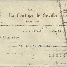 Sellos: BARCELONA II REPUBLICA CC A LIMOGES SELLO ALFONSO XIII AL DORSO MAT EXPOSITION COLONIALE 1931. Lote 46585286