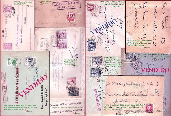 MALAGA Y PROV.- HISTORIA POSTAL, CARTAS Y T.P. P.V, 2.885 €. VER 16 FOTOS ADICIONALES Y CONDICIONES. (Sellos - Historia Postal - Sello Español - Sobres Circulados)