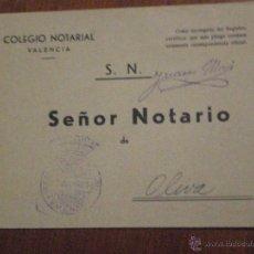 Selos: 1960 SELLO DE FRANQUICIA DECANO COLEGIO NOTARIAL VALENCIA. SOBRE CIRCULADO . Lote 48059666