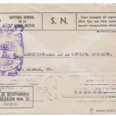Sellos: FRANQUICIA GOBIERNO MILITAR SORIA , MATASELLO RODILLO.. Lote 48322135