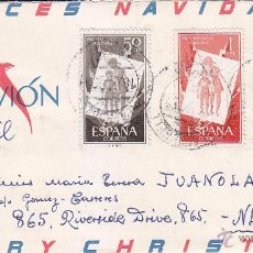 Sellos: NAVIDAD RARA CARTA DIPTICO FELICITACION NAVIDEÑA 1957 DE PALAFRUGELL (GERONA) A NUEVA YORK. . Lote 49254178