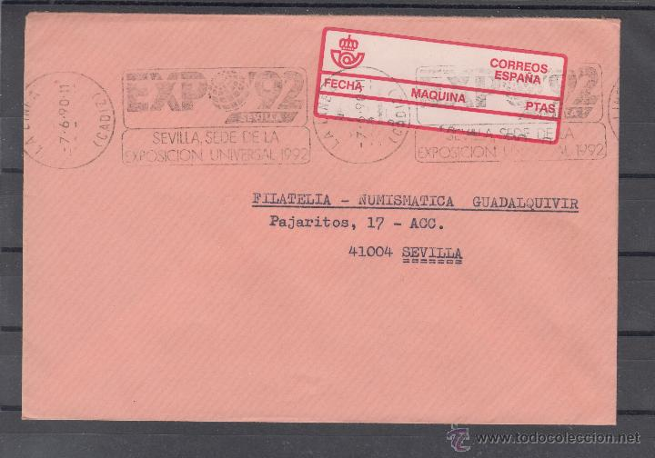 ETIQUETA EPELSA A 4 MAQUINA 10 LA LINEA DE LA CONCEPCION (CADIZ), CIRCULADA, MATº RODILLO EXPO 92 (Sellos - Historia Postal - Sello Español - Sobres Circulados)