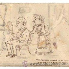 Sellos: SOBRE CIRCULADO PINTADO A MANO CON ESCENA COMICA. VALLADOLID. CIRCA 1903. Lote 50186411